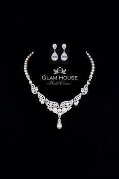 Bruiloft sieraden Set Pearl Necklace bruids oorbellen door GlamHouse