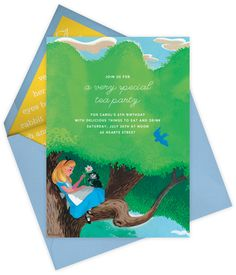 "How sweet is this ""Dreaming of Wonderland"" invitation by Paperless Post. Online Alice in Wonderland invitations for kids' birthdays with easy-to-use design tools and RSVP tracking. View other Disney invitations on paperlesspost.com/disney. Link:"