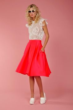 The classic full skirt is modernised in shocking pink. The electric colour energises your wardrobe and is the perfect contrast to the season's crisp whites. It has deep pleats, two pockets and a zip in the side. Summer 2016 Size & Fit: Model is 177cm tall Model wears a NZ 8/ NZ S/ EU 36/ US 6 Wash Guide: Dry clean only. Select a high quality drycleaner. Gentle short cycle. Low moisture. Low temperature. Do not wring/drip dry. Do not allow exposure to direct sunlight. Cool iron with...