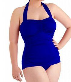 Blue Plus Size One Piece Bathing Suit