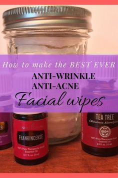 All Natural Anti-Aging & Anti-Acne Face Wipes Want to wash your face without toxins or harsh chemicals? This recipe is simple & great for your skin with essential oils, coconut oil, vitamin E, and more. Creme Anti Age, Anti Aging Cream, Anti Aging Skin Care, Natural Skin Care, Natural Beauty, Natural Face, Organic Beauty, Essential Oil Blends, Essential Oils