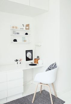 Workspace by My Second Hand Life. I love this white study area. Lovely white gloss desk and high cabinets.