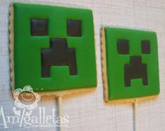 Popular items for Minecraft cookie on Etsy Cookies For Kids, Cut Out Cookies, Easter Cookies, Best Sugar Cookies, Iced Cookies, Cupcake Cookies, Mindcraft Cakes, Mindcraft Party, Minecraft Cookies
