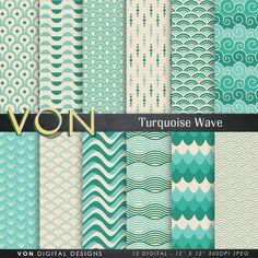 """Wave Digital Paper: """"VINTAGE TURQUOISE WAVE"""" background paper, beach, waves, ocean, sea waves, water, scrapbook paper, japan craft paper"""