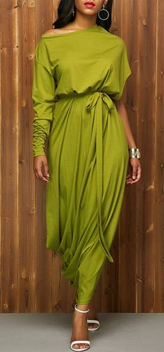 Skew Neck High Waist Belted Green Dress at Rosewe.com.
