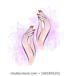 Beautiful Girl Face Red Lips Lush stockvector (rechtenvrij) 1121613893 Nail Salon Design, Salon Interior Design, Red Manicure, Manicures, Beauty Logo, Beauty Art, Abstract Sketches, Nail Logo, Framed Wallpaper