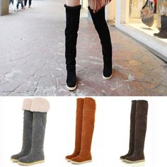 1d8e0543c79ef HOT Winter Warm Sexy Ladies Women's Flat Over Knee High Boots Long Snow  Shoes MI #