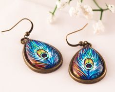 Peacock Earrings Peacock Jewelry Glass Earrings Blue by dauz