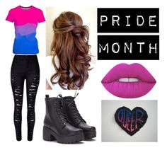 """""""Bi Outfit"""" by theepicfranzers ❤ liked on Polyvore featuring WithChic, pride, bisexual, bi and pridemonth"""