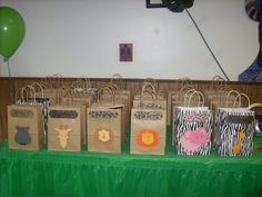 Safari Party personalized goodie bags made with my cricut machine!