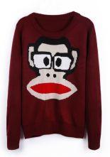 Oxblood Roun Neck Paul Frank Pattern Pullover Sweater $29.84 #SheInside