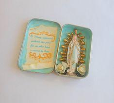 Virgin Mary Pocket Shrine, Personal Shrine, Mixed Media Assemblage Art Shrine. $16.00, via Etsy. Religious Icons, Religious Art, Blessed Mother Mary, Blessed Virgin Mary, Virgin Mary Art, Arte Popular, Assemblage Art, Ikon, Santos