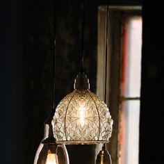 Depression Glass Dome Pendant Light,
