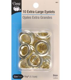These round metal eyelets are reinforcements for holes in fabric. Use large eyelets for curtains, duffel bags, tarps and windsocks. Extra Large Brass or Zi