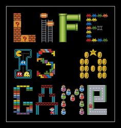 Life Is a Game Funny Cross Stitch Pattern | Craftsy