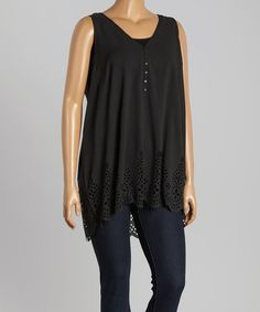 Take a look at this Simply Irresistible Black Crochet-Hem Tank - Plus today!