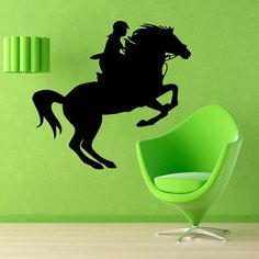 Woman Horse Rider Animals Decor Kids Wall Decor Home Vinyl Wall Art Girl Nursery Room Decor Sticker Decal size 33x33 Color