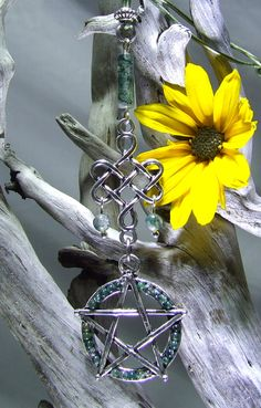 Pentagram Rear View Mirror Charm Wicca Car Charm Wicca Bag Charm Green Moss Agate Abundance Talisman Wicca Gift Silver Pentagram Celtic Knot by TigerEmporium on Etsy