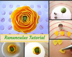 Of Wedding Cakes, Sweets and more.in Ipoh, Malaysia: Ranunculus Tutorial Fondant Flower Tutorial, Fondant Figures Tutorial, Fondant Flower Cake, Fondant Bow, Fondant Cakes, Cake Decorating Techniques, Cake Decorating Tutorials, Ranunculus Wedding, Ranunculus Boutonniere