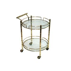"""Sold, please do not purchase. Two-tier, bamboo-style brass bar cart on casters with removable glass shelves. Approx: W x D x H Good, """"As Found"""" Vintage Condition: Some wear to brass appropriate with age and normal use. Brass Bar Cart, Faux Bamboo, Glass Shelves, Barware, Tableware, Handmade, Stuff To Buy, Vintage, Home Decor"""