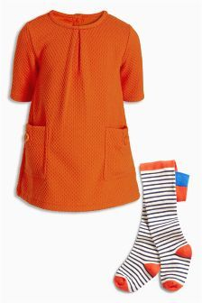 Orange Textured Dress And Tights Set (3mths-6yrs)