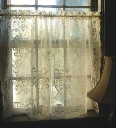 Vintage Cream Cotton Lace Cafe Curtain by mermaidsboudoir on Etsy, $28.00