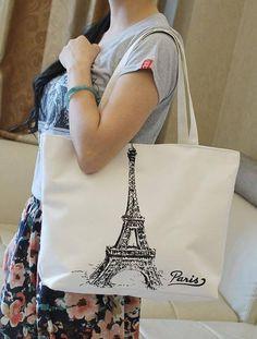 51150a1b19c Canvas Handbags DIY   Eiffel Tower Canvas Pretty Tote Hand Bag Large  Capacity.  shopping
