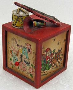 Vintage Wooden Wood Square Christmas Music Box Santa Claus Comes Tonight Musical Instruments On Top Violin Drum Snowman Christmas Tree by RetroCentsStudio on Etsy
