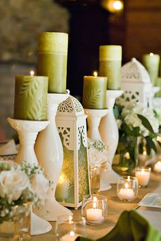 bold green candles and white holders. would be good for wedding book table. Pear Blossom, Candle In The Wind, Wedding Decorations, Table Decorations, Candle Lanterns, Green Candles, Centerpieces, Centerpiece Ideas, Tablescapes