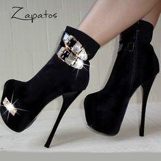Zapatos de Plataforma alto Color Negro Tipo: Botas