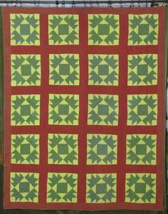 Outstanding Antique c1870 Union Square Red Green Calico Quilt 82x67 034 | eBay seller vintageblessings; hand quilted at 5-6 stitches per inch, hand bound, calico yellow, overdyed green, turkey red; a coupld of tiny light blue spots on the green; 3.12 lbs