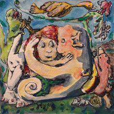 Romancing the mermaid 2016_01_13_2351pm #atlsketchsociety #getsketchy36 #mermaid #bunny #platypus #faeries #dinosaur #gouache #ink