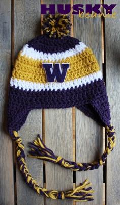 1605fba8d2c Washington Huskies Beanie crochet pattern Crochet Adult Hat