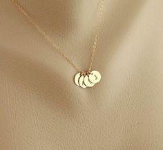 Custom FOUR GOLD Initial Necklace Monogram Necklace por hotmixcold, $44,00