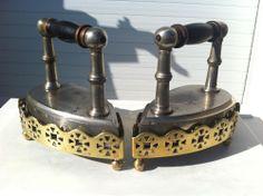 Antique pair Belgian Sad Irons & Trivets, a wedding gift circa 1910-1920.