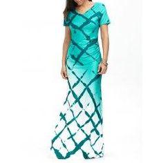 trendsgal.com - Trendsgal Short Sleeve Plaid Print Ombre Maxi Dress - AdoreWe.com