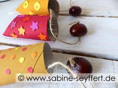 DIY Basteln mit Kindern: Bastelspaß mit leeren Klorollen - wir basteln ein herbstliches Spiel mit Kastanien