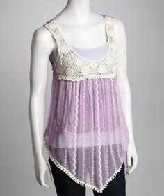 Lavender Silk Lace Top