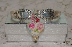 bracelet made from 2 of my favorite things: vintage silverware and old china