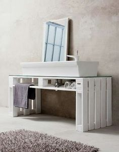 Pallet bathroom cabinet vanity: in white, beige, grey and blue Cheap Home Furniture, Pallet Furniture, Pallet Chair, Pallet Crates, Wooden Pallets, Diy Pallet, Pallet Ideas, Pallet Wood, Pallet Bathroom
