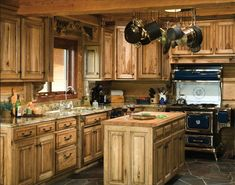 Country style kitchen furniture with wooden countertop
