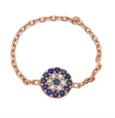 Evil eye chain ring with white and blue cz crystals! Shop Amorium jewelry now. www.amorium.com