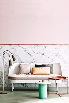 pale pink paint with marble via inside out magazine / sfgirlbybay