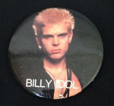 Vintage 80s Billy Idol Punk New Wave Rock Band Pinback Button Pin