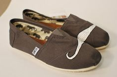 Grey Mustache TOMScustom art shoes by BStreetShoes on Etsy, $79.00