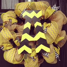 Appalachian State // ASU Burlap wreath with yellow//black//white and chevron center letter on Etsy, $75.00