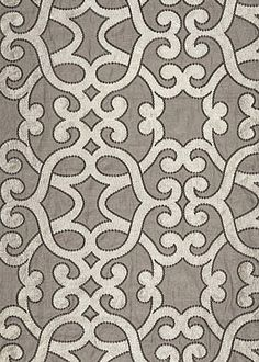 Amboise Linen Embroidery Zinc Fabric by the Yard