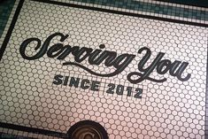 Custom mosaic logo at The Grounds of The City. Design by Acme & Co, tile supply by Olde English Tiles Geometric Tiles, Lettering Design, Fine Dining, Signage, Mosaic, Restaurant, English, Pattern, General Store