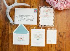 "custom watercolor ""logo"" on this invitation suite   Gabe Aceves #wedding"