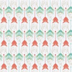Coral and Teal Arrows Fabric by Carousel Designs.